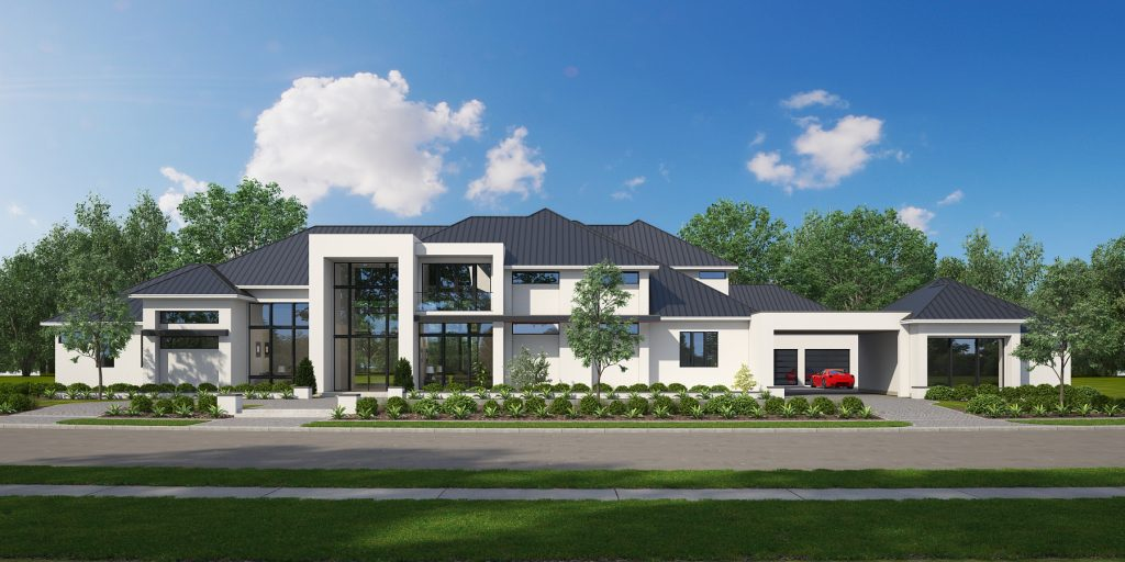 3d house rendering of a modern style home with transitional architecture in frisco, tx